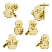 3mm MDF Snowpeoples 6 Snowmen with accessories Card Craft Christmas Decoration